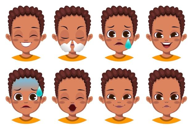 Garçon avec une collection d & # 39; expressions faciales différentes