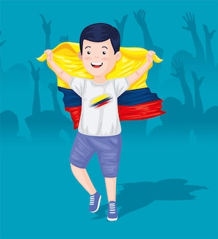 Garçon colombien avec drapeau