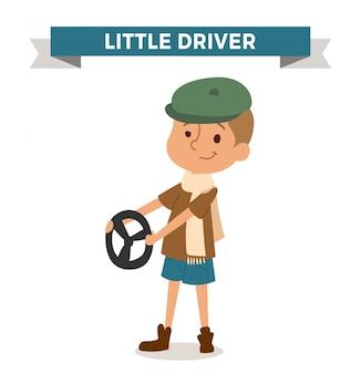 Garçon conducteur avec voiture grossier isolé
