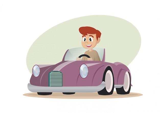 Garçon conduisant une voiture.