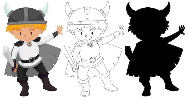 Garçon en costume de chevalier avec son contour et sa silhouette