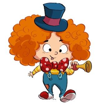 Garçon avec costume de clown drôle
