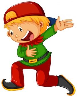 Un garçon en costume d'elfe