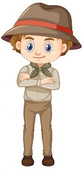 Garçon en costume de safari isolé
