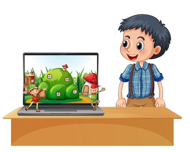 Garçon à Côté D'un Ordinateur Portable Avec Elfe à L'écran Vecteur Premium