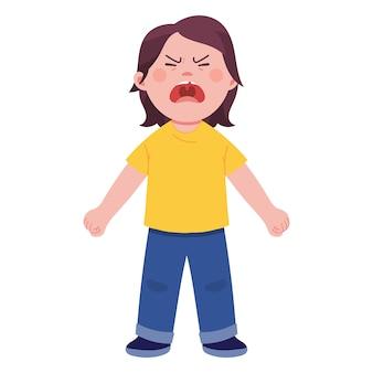 Un garçon a crié avec colère sur la colère