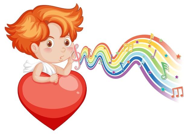 Garçon de cupidon tenant le coeur avec des symboles de mélodie sur la vague d'arc-en-ciel