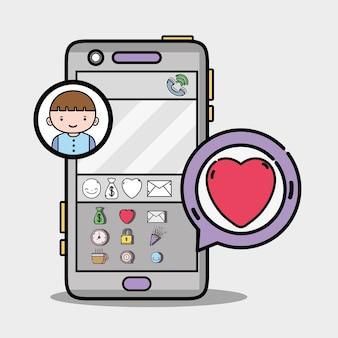 Garçon dans l'icône de message de bulle de chat
