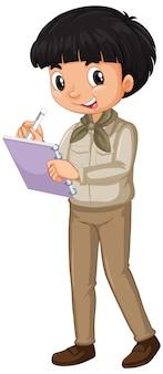 Garçon, dans, safari, uniforme, écriture, notes, isolé