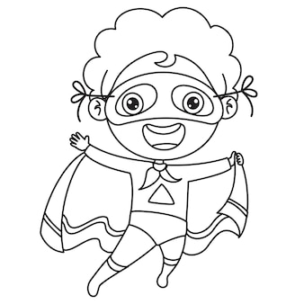 Garçon déguisé avec cape et masque, dessin au trait pour enfants coloriage
