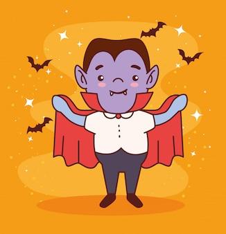 Garçon déguisé du comte dracula pour joyeuse fête d'halloween avec des chauves-souris volant vector illustration design