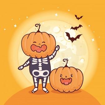Garçon déguisé de squelette avec tête de citrouille pour joyeuse fête d'halloween avec des chauves-souris volant vector illustration design