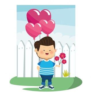 Garçon de dessin animé amoureux tenant des ballons coeurs et des fleurs sur une clôture blanche et blanche