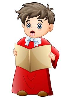 Garçon de dessin animé chantant des chants de noël