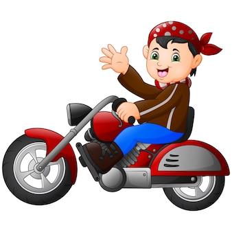 Garçon de dessin animé drôle monté sur une moto