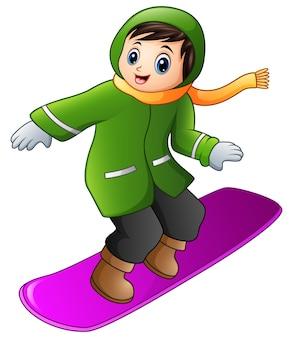 Garçon de dessin animé jouant au snowboard