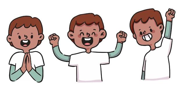 Garçon de dessin animé mignon ensemble d'illustration heureux, excité et réussi