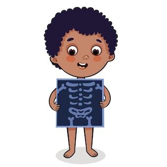 Garçon de dessin animé mignon avec illustration vectorielle de radiographie