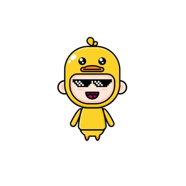 Garçon de dessin animé mignon portant un costume de canard