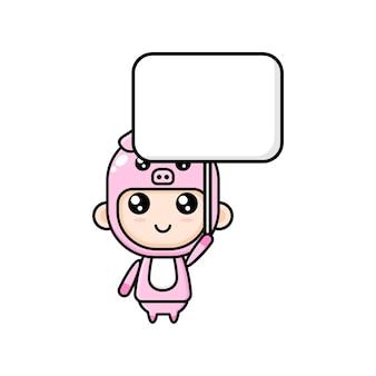 Garçon de dessin animé mignon portant un costume de cochon