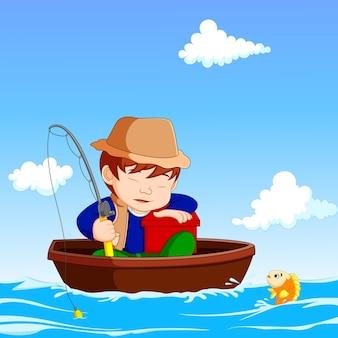 Garçon de dessin animé de pêche