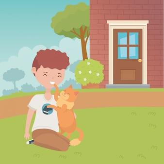 Garçon avec dessin de chat