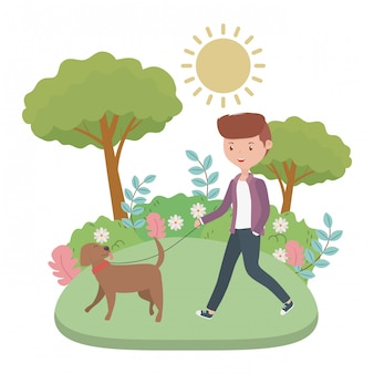 Garçon avec dessin de chien