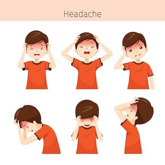 Garçon avec différentes actions de maux de tête
