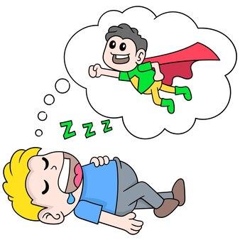 Le garçon dort profondément en rêvant de voler pour être un super-héros, art d'illustration vectorielle. doodle icône image kawaii.
