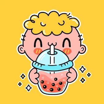 Un garçon drôle mignon boit du thé à bulles dans une tasse. vector hand drawn cartoon kawaii character illustration autocollant logo icône. boba asiatique, concept d'affiche de personnage de dessin animé de boisson de thé à bulles garçon ande