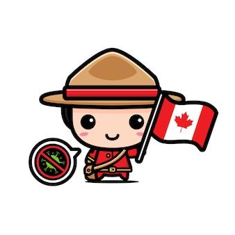 Garçon du canada avec le drapeau contre le virus