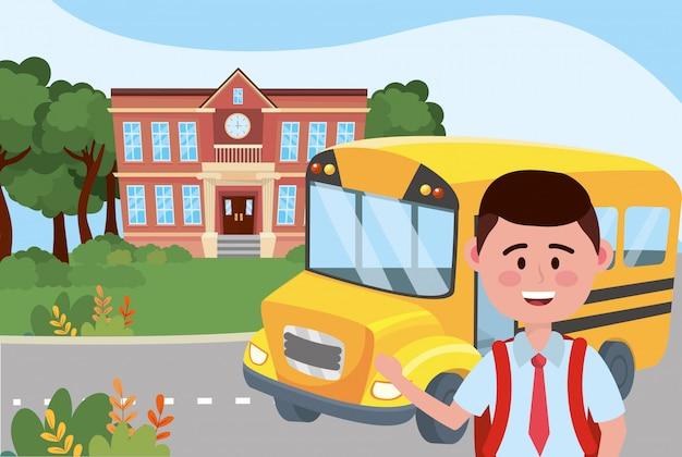 Garçon et école de bus