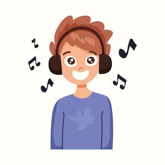 Le garçon écoute de la musique avec des écouteurs. illustration vectorielle dans un style plat