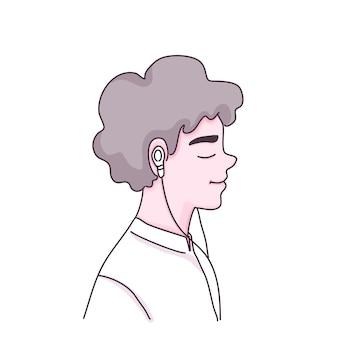 Garçon écouter illustration de personnage de dessin animé de musique