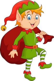 Garçon elfe mignon de bande dessinée avec sac