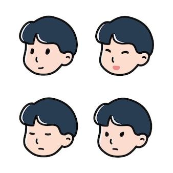 Garçon emoji emoticon doodle chibi icône plate vector set
