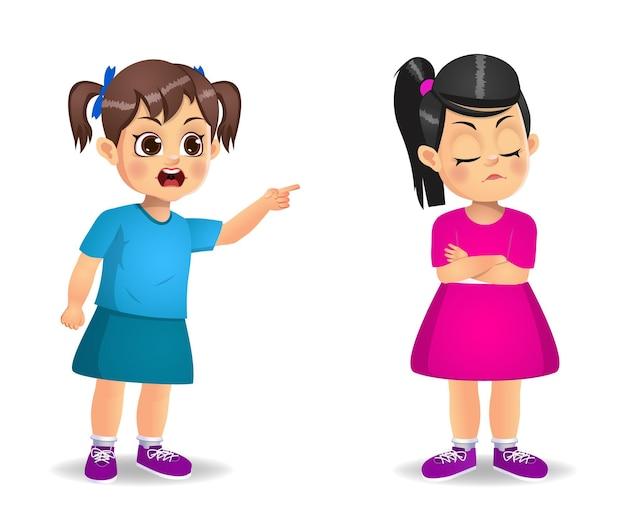 Garçon enfant en colère contre fille enfant et la faire pleurer