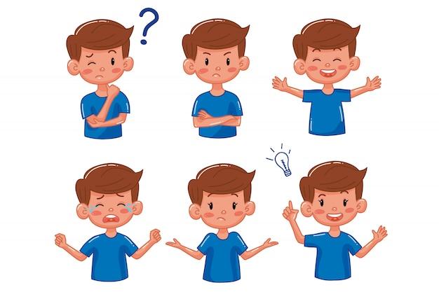 Garçon enfant avec différentes émotions. dessin animé. plat. expression du visage