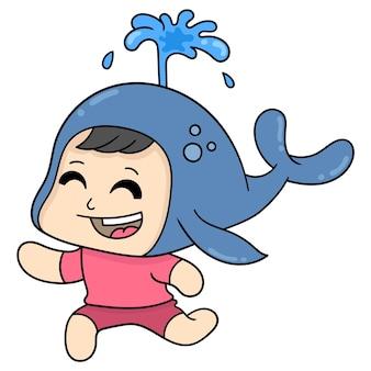 Garçon enfant est heureux de porter le costume de baleine, art d'illustration vectorielle. doodle icône image kawaii.