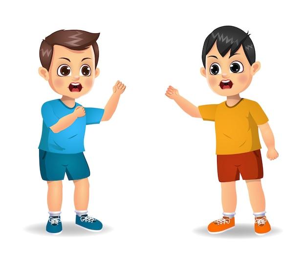 Garçon enfant se mettre en colère contre son amie