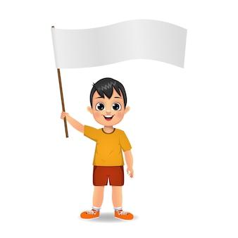 Garçon enfant tenant un drapeau vierge