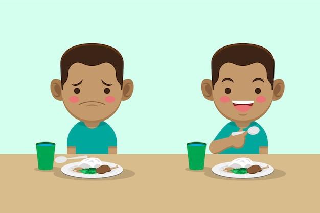Garçon ennuyeux et heureux avec la prime alimentaire