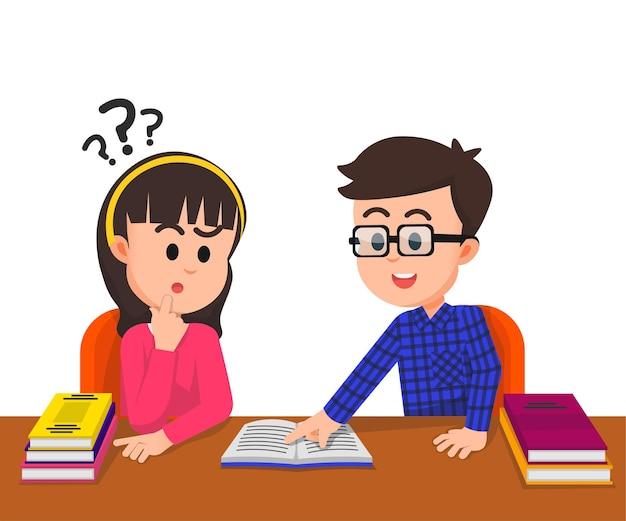 Un garçon enseigne à son ami confus