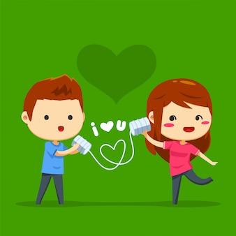 Un garçon a envoyé un message d'amour à travers un fil