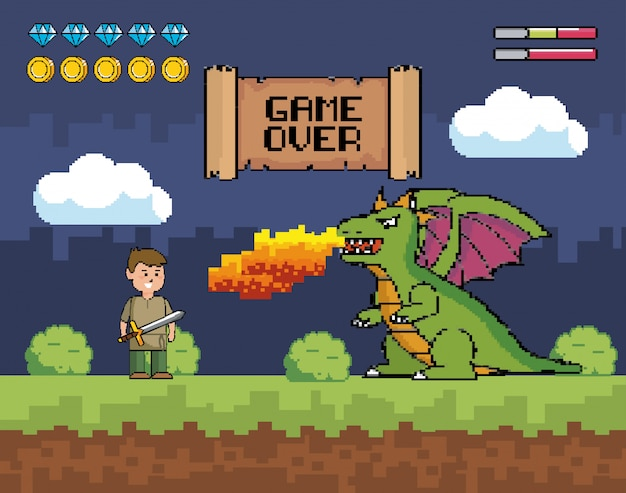 Un garçon avec une épée et un dragon crache le feu avec un message de game over