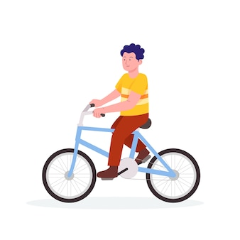 Garçon, équitation, a, bicyclette, dessin animé, illustration