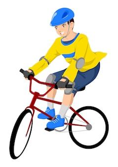 Garçon, équitation, bicyclette