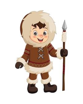 Garçon esquimau de dessin animé tenant une lance