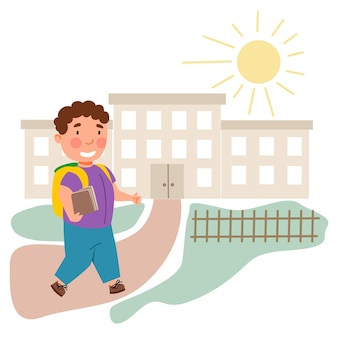 Le garçon est allé à l'école. l'enfant est retourné à l'école. illustration vectorielle dans un style plat.