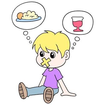 Le garçon était assis affamé parce qu'il jeûnait, illustration vectorielle. doodle icône image kawaii.